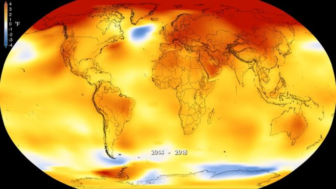 Temperature anomaly map: how much Earth has warmed due to human activities